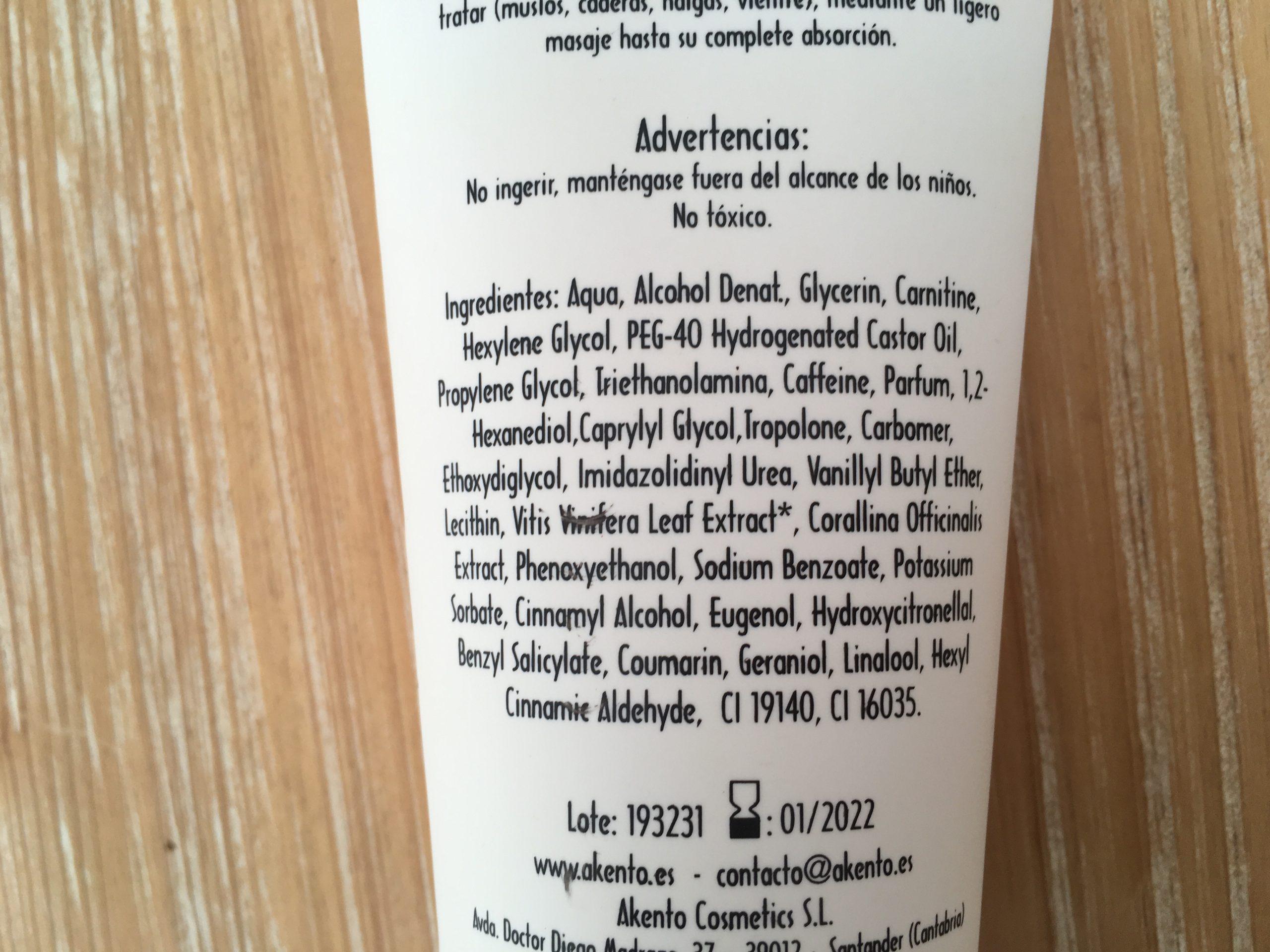 ingredientes anticelulitico akento